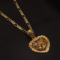 Wholesale New Sun Flower Lion Head Pendant Charms K Real Gold Plated Choker Necklace Christmas Gift Fashion Jewelry For Women MGC P226