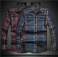 Wholesale 2013 NWT Men s British Fashion Grids Shirts Fit Slim Long Sleeve Casual Shirts A910