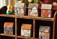 Wholesale New vintage Mini house shape Tin Box Storage case Wedding Candy Box jewellery box