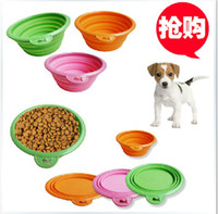 Wholesale Pet dog bowls collapsible silicone travel pet dogs cat food bowl dish feeders non toxic Water Bottle Pet Supplies hot selling