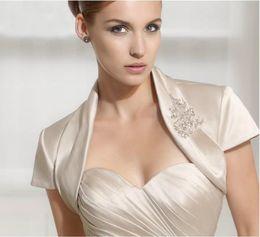 Custom Made Wedding Bridal Jacket Satin Beading Bolero Shrug Bridal Jackets DH7039