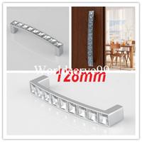 Zinc+ Crystal   Crystal Glass 128mm Cabinet Knob Pull Handle Drawer Cupboard Door Wardrobe Silver