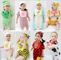 Cheap Summer Infant Clothing 3pcs Set Cut Romper + Bib Saliva Towel + Cap 0-24M Baby Set Toddler Clothes Suit