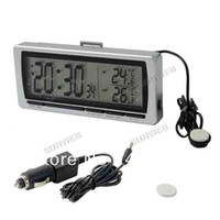 Wholesale LCD Digital Time Car Display Clock Voltage Car Thermometer Hygrometer Silver Multi Function