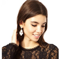 Wholesale Womens Rhinestone Dangle Studs Girls White Resin Gemstone Drop Earrings Jewelry Fashion