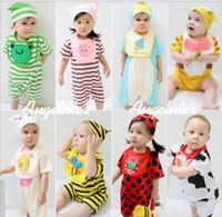 Unisex Summer  .Wholesale - Summer Infant Clothing 3pcs Set Cut Romper + Bib Saliva Towel + Cap 0-24M Baby Set Toddler Clothes Suit Babies Wear QZ269