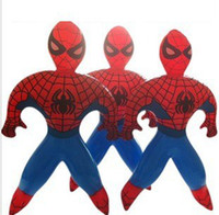 Multicolor inflatable cartoon - 30 Novelty Superman Spider Man PVC Inflatable cartoon toys for children games Kids birthday gifts air filled Height cm