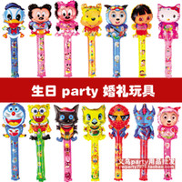 Wholesale 80cm Medium cartoon balloon stick blow inflatable stick animal head cartoon stick toy