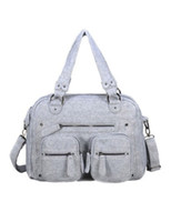Wholesale Gray Felt Distressed Women s Casual Travel Bag r85 u9 AGX