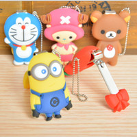 Wholesale kawaii sponge bob figure shape key chain Despicable me nail clippers cute cartoon fingernail cutters scissors