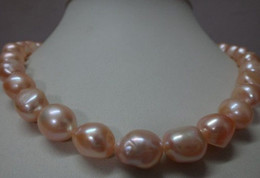 Wholesale Real Fine Pearl Jewelry HUGE quot MM NATURAL SOUTH SEA GENUINE GOLD PINK BAROQUE PEARL NECKLACE K