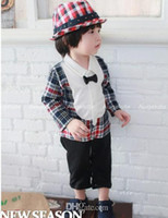 Boy Spring / Autumn  Spring Autumn Wear Babies Long Sleeve Romper Casual Gentleman Bow Tie Grid Toddler Boys Romper Baby One Piece Clothing Jumpsuit vxz