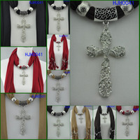 Wholesale Jewelry scarf pendant scarf necklace with cross pendant scarf new mixed color women s fashion scarf FEDEX HJH0041
