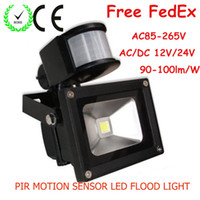 Wholesale Free ship LED W floodlights lamp Pure White Outdoor lighting AC85 V DC12V V PIR Motion Passive Infrared Sensor Waterproof Flood light