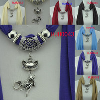 Wholesale pendant scarf necklace Jewelry scarf Lovely fox scarf new mixed color women s fashion scarf FEDEX HJH0043