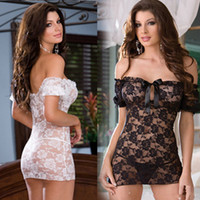 Wholesale 868 women new fashion white black rose lace crochet off shoulder perspective sexy sleepwear dress lingerie drop ship