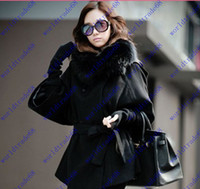 Coats absolutely fashion - Absolutely genuine elegant Real Fox Fur Collar Women s Long Black Coat Fur wool coat outerwear Plus Size