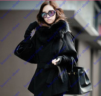 Women absolutely fashion - Absolutely genuine elegant Real Fox Fur Collar Women s Long Black Coat Fur wool coat outerwear Plus Size