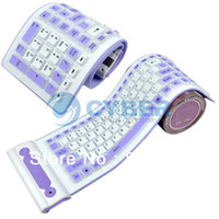 Wholesale Flexible G Foldable Wireless Silicone Keyboard PC Tablet Laptop Computer Roll Up Purple