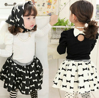 Wholesale new spring summer babys girls Childrens Cotton suit children s outfits amp sets long sleeve T shirts skirts scarf TT F