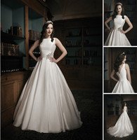 Wholesale 2014 Wedding Dresses Sexy Satin Organza Sabrina Neckline Pleated Cummerbund Beaded Motif Waist A line Chapel Train Bride Gown Customs BG1023