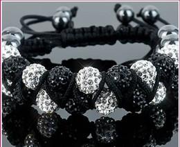 Wholesale Cheap Bangle Bead - New Style!10mm Two row best cheap Hot White disco Ball Beads Bangles VSD Crystal Shamballa Bracelet jewelry Christmas Gift