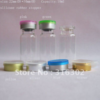 Wholesale ml clear glass vial flip off cap silicone rubber stopper ml glass bottle