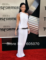 Reference Images Celebrity Dresses Yes 2013 Top Selling Megan Fox White Side Cowl Gown For Premiere Of Transformers in Westwood Celebrity Dresses Chiffon One Shoulder