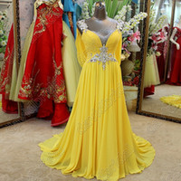 Wholesale Spaghetti Strap Champagne Prom Dresses - Fashion Sexy Prom Chiffon Yellow Formal Evening Dresses 2015 Long Beaded Spaghetti Straps A-Line Sheath Party Elegant Evening Gowns