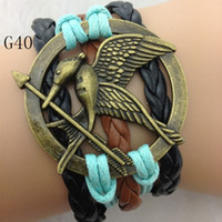 Charm Bracelets best tv links - Hot Fashion Hunger Games Bracelet Multilayer Handmade Leather Colorful Charm Bracelets Christmas Party Best Gift G40