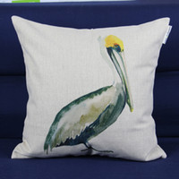 Wholesale quot Brown Pelican art pattern design quality decorative throw pillow case pillow cover cushion cover set