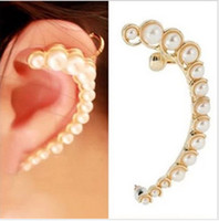 Wholesale Personality Crescent Imitated Pearl Ear Cuff Clip Earring Charm Studs Gold amp Silver Color