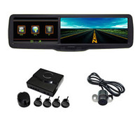 1 channel 1.5 640x480 car dvr 4 3 Rear View Mirror Monitor DVR GPS Bluetooth with Backup Camera Parking Sensor