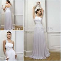 Other Reference Images Bateau Hot Selling One Shoulder Court Train Beadings Chiffon Grecian Inspired Wedding Bridal Dress