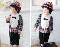 Boy Spring / Autumn 100% Cotton Spring Autumn Wear Babies Long Sleeve Romper Casual Gentleman Bow Tie Grid Toddler Boys Romper Baby One Piece Clothing Jumpsuit
