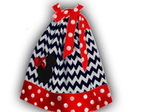 Wholesale Children s black chevron with polka dot hem girls pillowcase dresses minnie mouse childrens boutique clothing