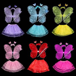 Newest make-up party decoration 200pcs lot50set mix colour halloween single headband+Fairy Gold+butterfly wing+skirt children