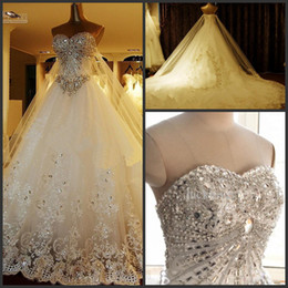 Wholesale 2014 Newest Luxury bride dress Sweetheart Swarovski crystals Applique Bead cathedral wedding dresses Free Gift Veil Petticoat BUY GET