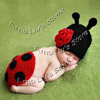 Wholesale Hand Crochet Ladybug Set Baby Photography Props Newborn Ladybug Hat and Cover Set Infant Animal Beanie Hats