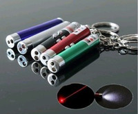 Wholesale Best price Laser Pointers in Mini Sliver Keychain mw Red Laser Pointer White LED Flashlight Torch