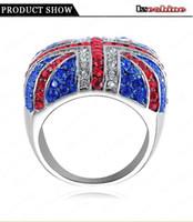 Unisex austrian flag - Fashion Union Jack Cloth Rings Platinum Plated Full Austrian Crystal SWA Elements UK Flag Finger Ring Ri HQ0317