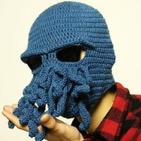 Wholesale Novelty Handmade Knitting Wool Funny Beard Winter Octopus Hats amp caps Christmas Party Crocheted beanies unisex Gift