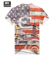 Wholesale Newest American Flag Dress T shirt Fashion Camisas Top Men Casual Short Sleeve Cotton V Neck T Shirts Novelty Tee AMY12
