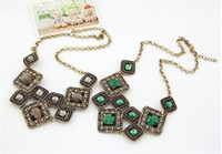 Party bib necklace designs - 2013 New Fashion Design Necklace Vintage Retro Statement Necklaces Romantic Rhinestone Drap Gem Bib Choker