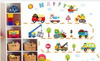 Wholesale New Double sided wall stickers cartoon car automobile crane bulldozer