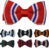 Wholesale men polyester knitted stripe bowtie mixed styles freeshipping dropshipping high quality