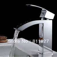 Chrome basins for sale - good quality brass waterfall bathroom wash basin tap chrome faucet hot cold water mixer discount for sale