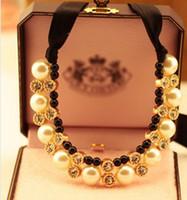 Wholesale Upscale jewelry pearl rhinestone halter neck dress short black ribbon necklace