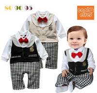 Wholesale Newborn Infant Baby Boy Cotton Vest Gentleman Rompers Months with Stripe