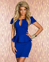 Casual Dresses Strapless Mini Women's Sexy Clubwear Classic Peplum Dress Blue White Pink Black CB9477